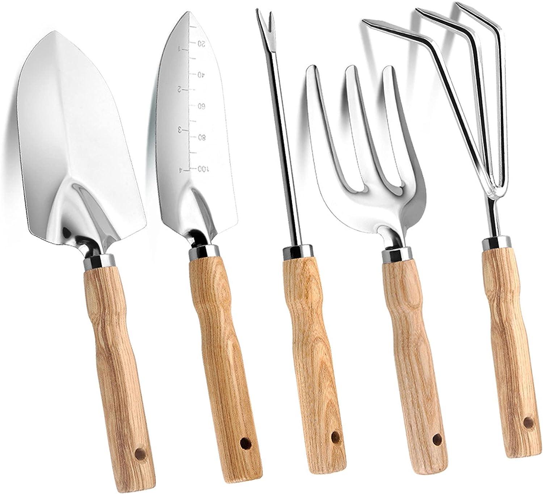 RONEC 5Pcs Garden Tools, Gardening Gifts for Women Gardening Tools, Gardening Supplies Hand Tools, Wooden Handle Stainless Steel Rake Fork Weeder Labels Garden Tool Set