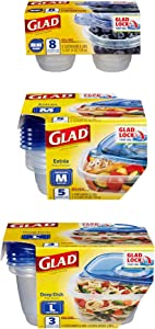 Glad Variety Pack Food Storage, Jumbo Variety-56, 105 Entree Containers, 56 Count