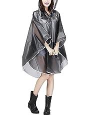 Jetai, Poncho Impermeabile Trasparente da Donna, Mantella Leggera e Portatile per la Pioggia