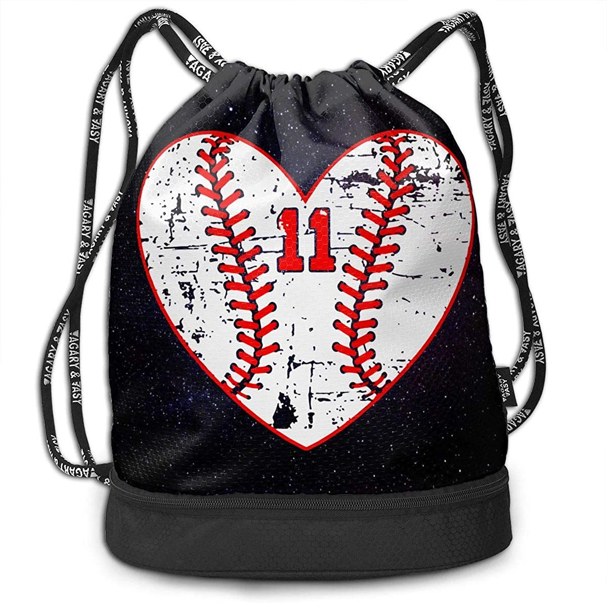 SG0HGO Drawstring Bag Baseball Distressed Heart Number 11 Men /& Women Yoga Dance Travel Shoulder Bags