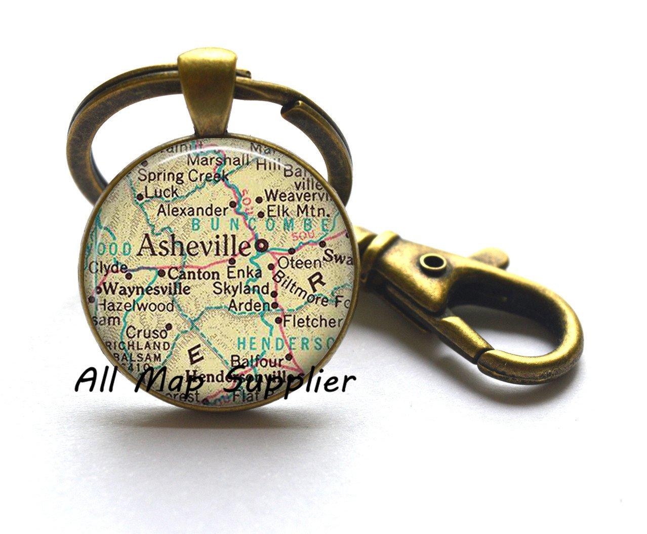 Charmingキーチェーン、Asheville、ノースカロライナ州マップキーチェーン、Ashevilleマップキーリング、マップジュエリーAshevilleキーチェーン、Ashevilleキーリングa0120 B076BHZFMG