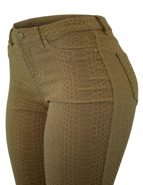 Cielo Women's Trendy Subtle Chic Snake Skin/jacquard Skinny Pants