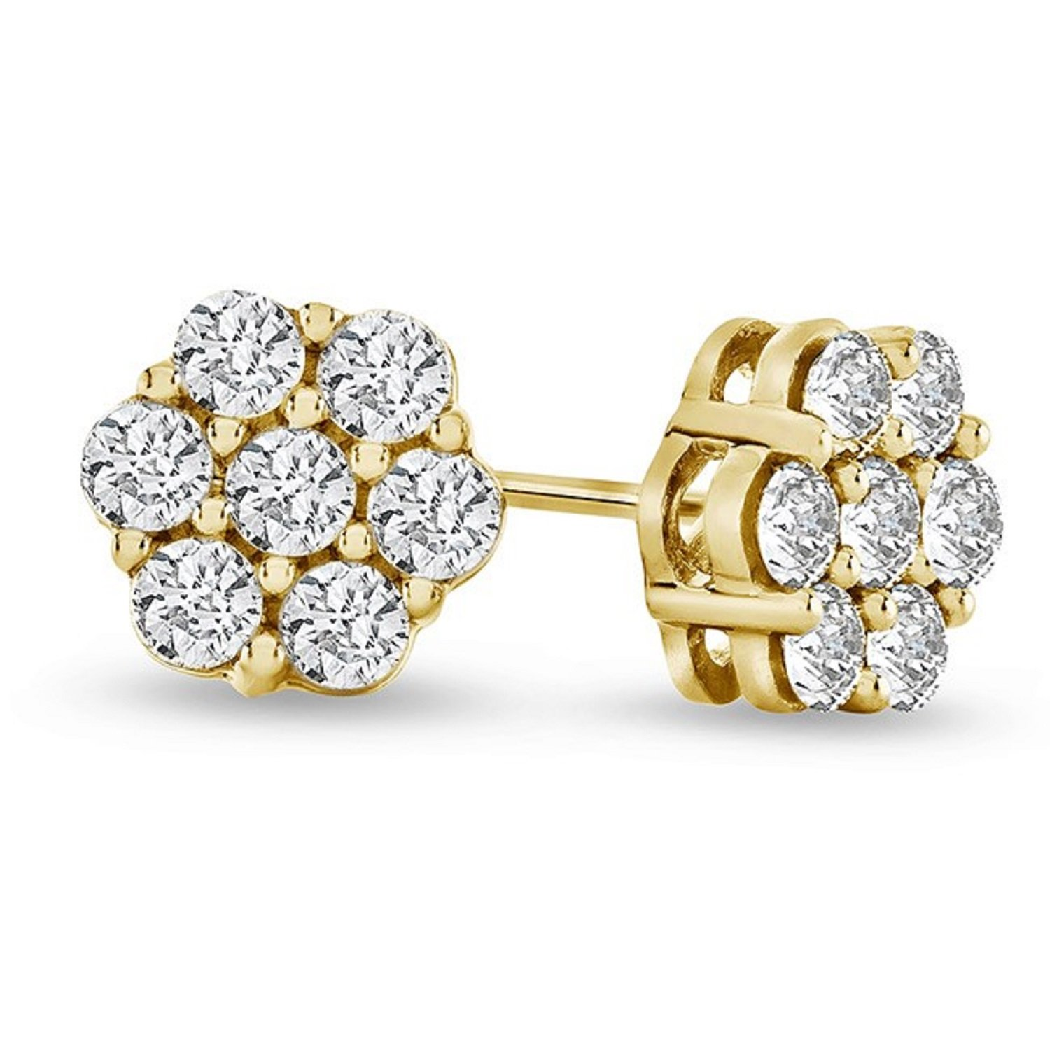 0.25ctw Cluster Natural Diamond Round Cut Flower Studs Earrings 14K Yellow Gold (1/4 ctw)