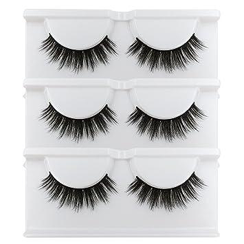 82d1011644f BEPHOLAN Lashes 3 Pairs Soft Fake Eyelashes 3D Mink Eyelashes Natural Look  Reusable Handmade Fake Eyelashes
