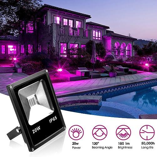 KOOT LED Flood Light Black Lights, 20W Ultra Violet Outdoor Waterproof Blacklights for Fluorescent Effect, Neon Glow, Glow in The Dark