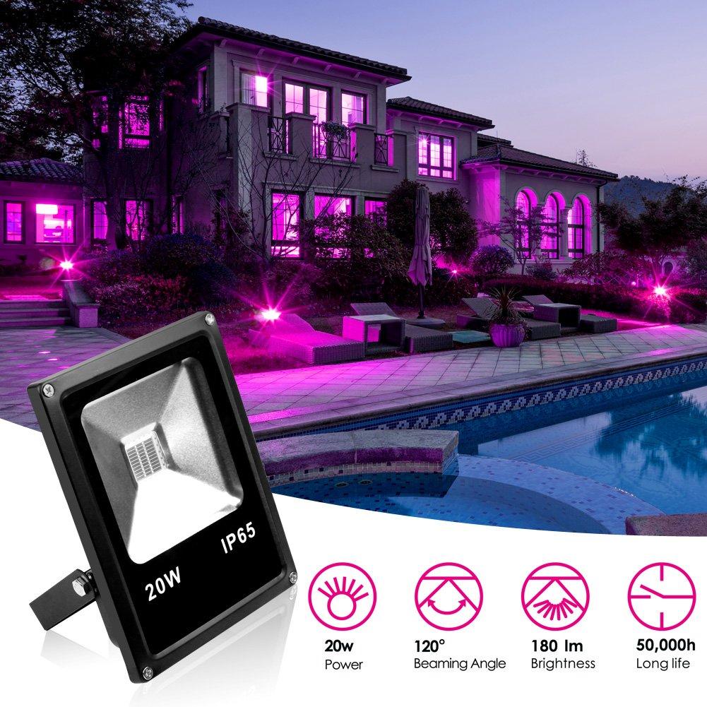 KOOT UV LED Flood Lights Black Light, 20W Ultra Violet Outdoor Waterproof Blacklights for DJ Disco Night Clubs, Blacklight Party, Fluorescent Effect, Neon Glow, Glow in The Dark