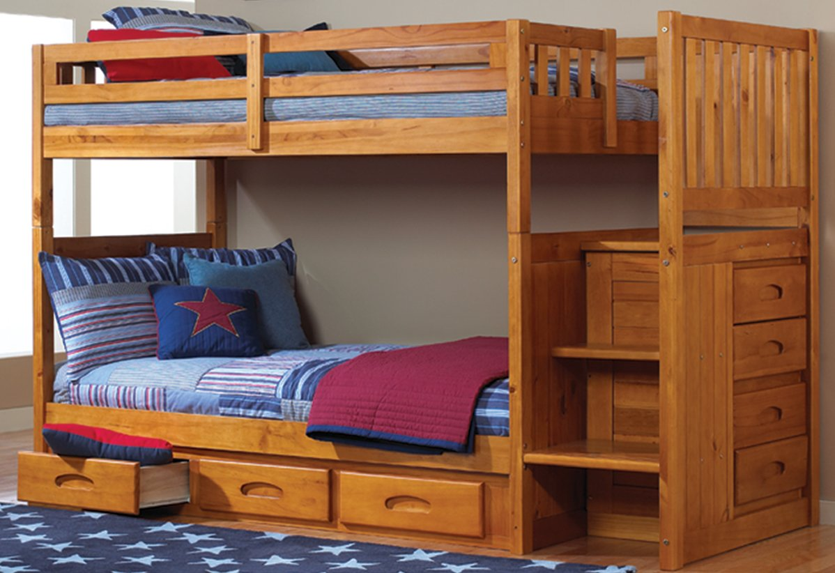 Mission Twin Over Twin Staircase Bunk Bed with Trundle, Desk, Hutch and Chair in Honey Finish
