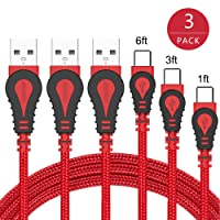USB Type C Cable,JianHan USB C Charger Cable 3 Pack (1ft+3ft+6ft) Nylon Braided Fast Charging USB A to USB C Cord for Samsung Galaxy S9,S9 Plus,S8,S8 Plus,Note 8,Note 7,Galaxy A5 (2017),LG G6 G5 V30 V20,Google Pixel 2 2 XL,Nintendo Switch,Macbook (Red)