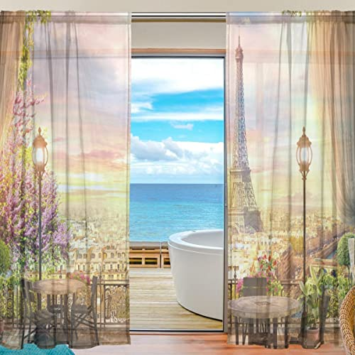 U-Life Romantic Vintage Paris Eiffel Tower Patchwork Rod Pocket Sheer Voile Curtains Window Curtain 55 inch Wide x 84 inch Long Per Panel