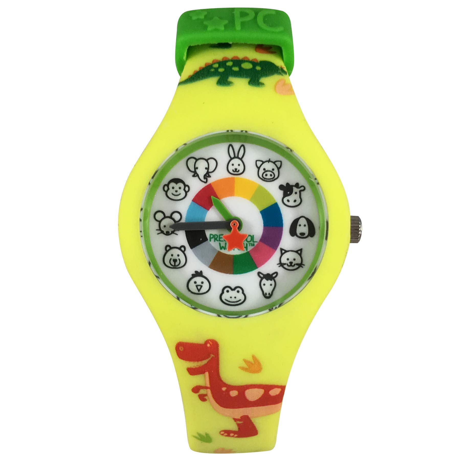 Dinosaur Preschool Watch - The Only Analog Kids Watch Preschoolers Understand! Quality Teaching time Silicone Watch with Glow-in-The-Dark Dial & Japan Movement by PRESCHOOL COLLECTION (Image #1)