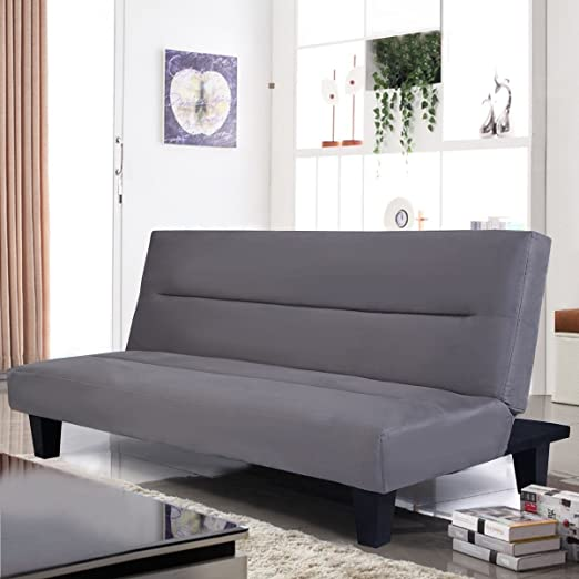 Premium Futon Sofa Convertable To Reclining Sleeper Bed for Modern Contemporary Living Room Apartment, Gray Color