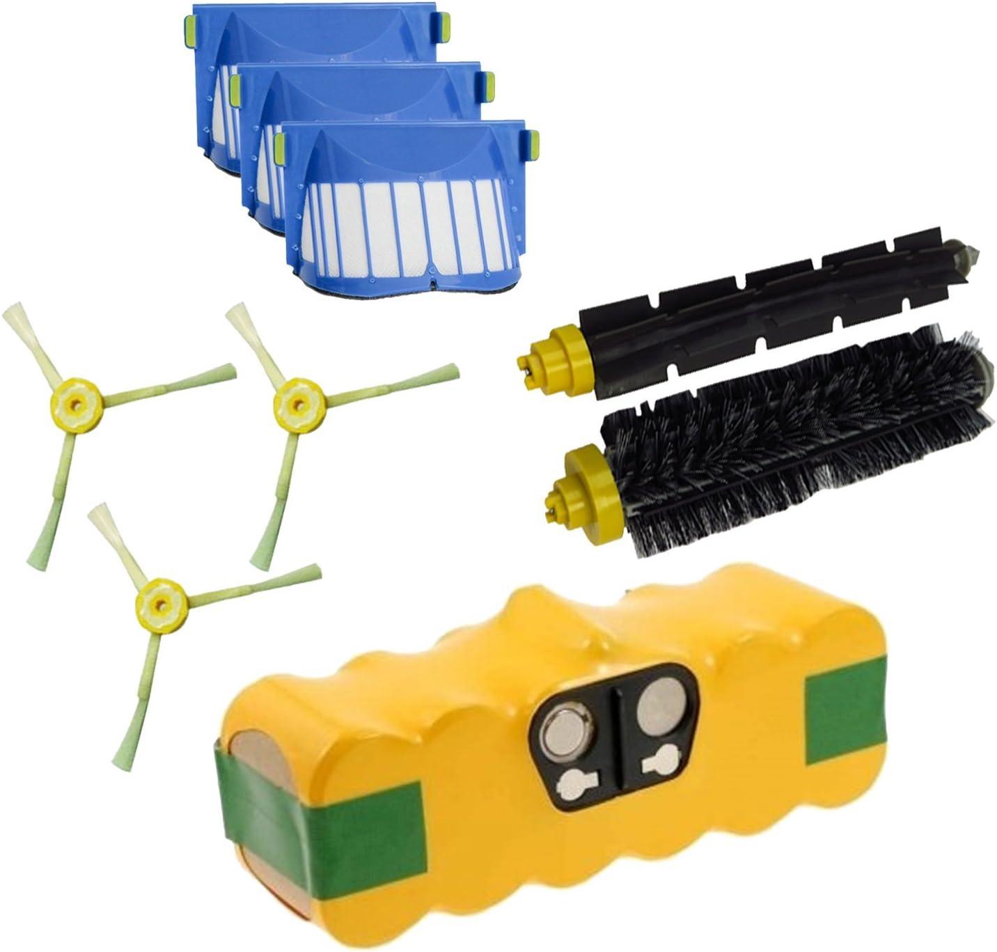 Batería + Kit de cepillos y filtros Aerovac para iRobot Roomba ...