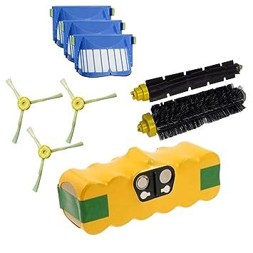 Batería + Kit Cepillos y Filtros Aerovac para iRobot Roomba serie 600 601 602 603 604