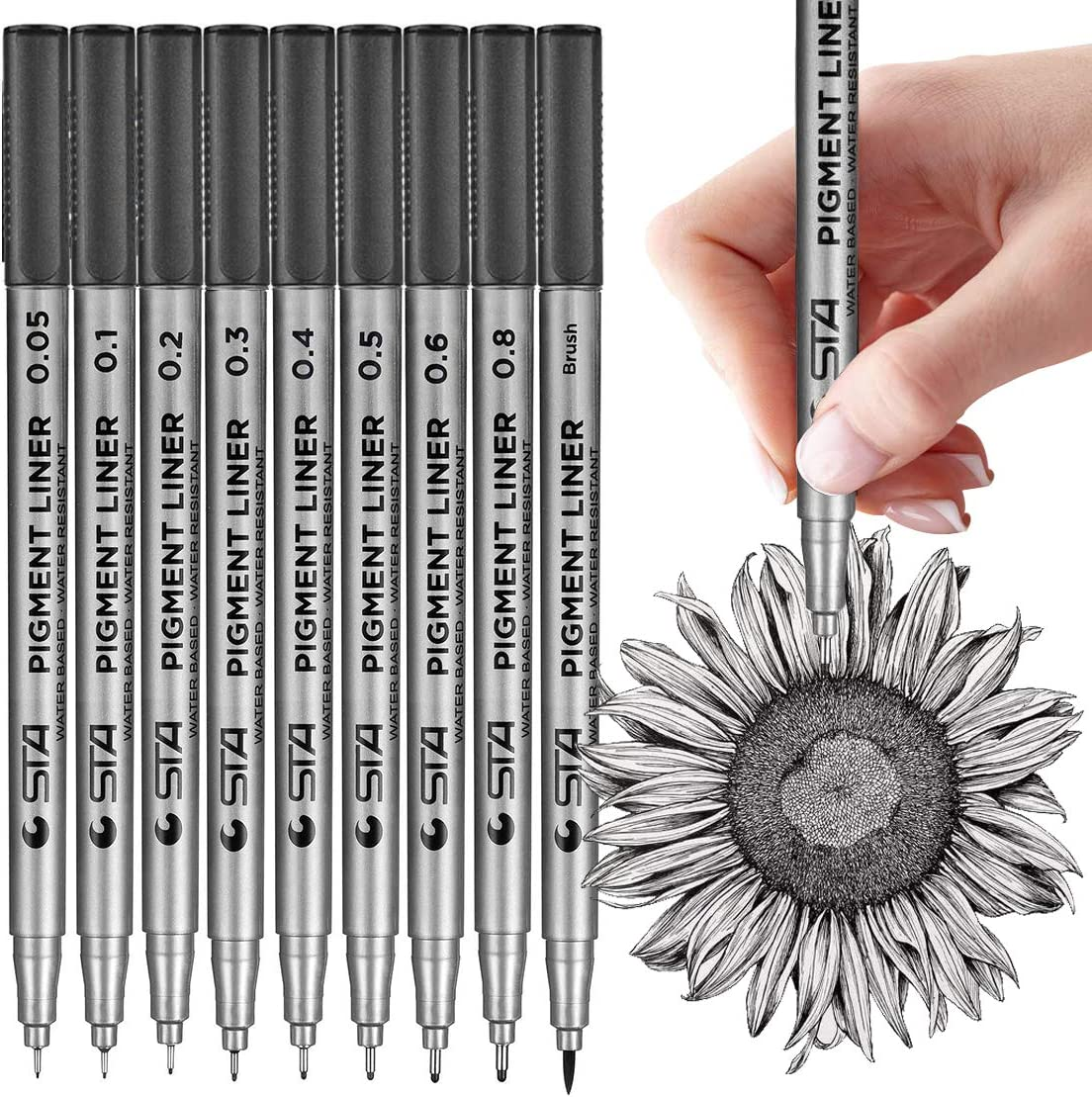 MISULOVE Micro-Pen Fineliner Ink Pens, Precision Multiliner Pens for Artist Illustration, Sketching, Technical Drawing, Manga, Scrapbooking(9 Size/Black) : Office Products