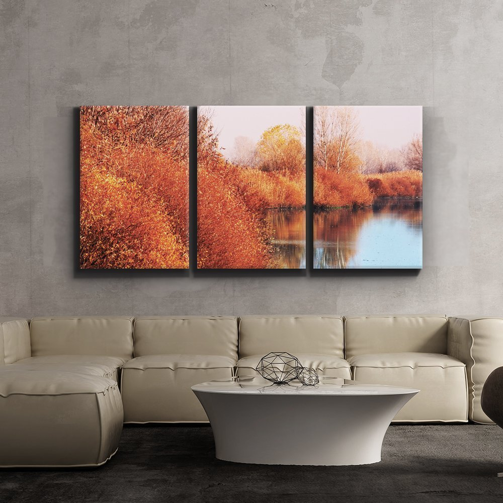 Print Contemporary Art Wall Decor Autumn Lake Scene Orange Calm Peaceful  Giclee Artwork Gallery Ped Wood
