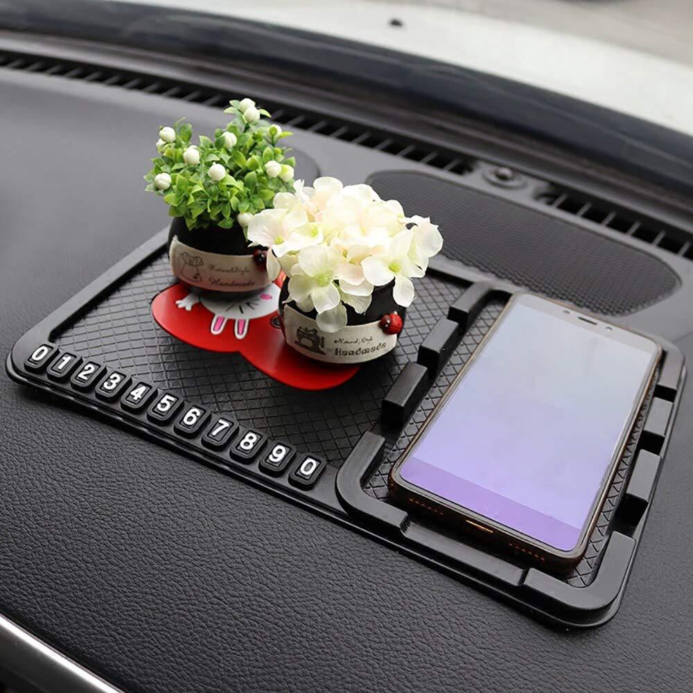 KENTT - Car Ornament PVC Cute Decoration Dashboard Anti Slip Mat Non-slip Pad With Phone Number Prompt Automobiles Interior Accessories