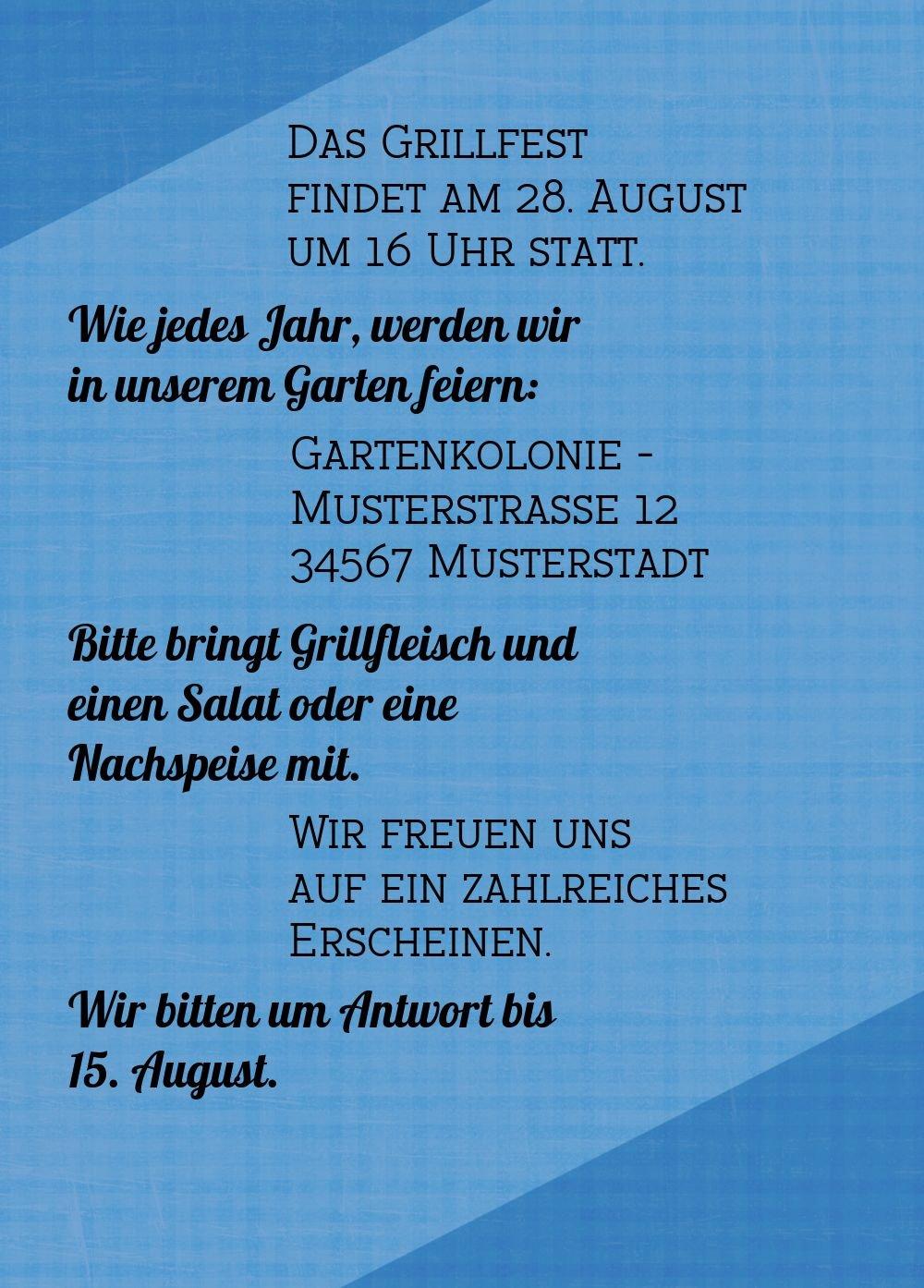 Einladung Sommerfest Grillsaison, 60 Karten, MattBlau B073H38WK3   Günstige  Günstige  Günstige    Wir haben von unseren Kunden Lob erhalten.    Langfristiger Ruf  0a0f93