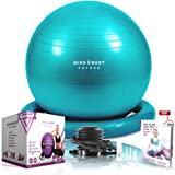 Mind Body Future Exercise Ball Chair & Stability Ring. ANTI-SLIP & ANTI-BURST FOR SAFETY. Ideal for Yoga, Pilates or Birthing Therapy - Includes Bonus eGuide & Pump
