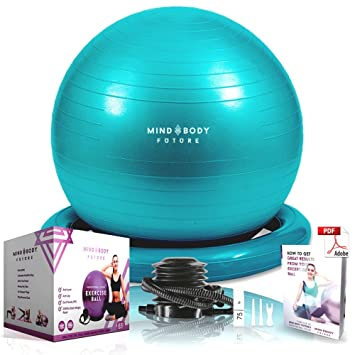 Mind Body Future Exercise Ball Chair U0026 Stability Ring. 55cm Turquoise.  ANTI SLIP