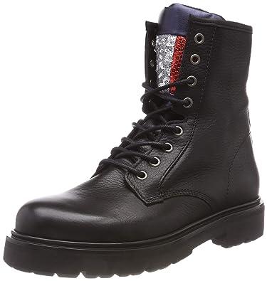 acf492fdf0648 Hilfiger Denim Damen Big Flag Sparkle Lace Up Combat Boots