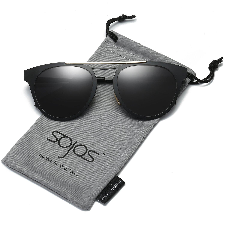 SojoS Vintage Retrò Specchio Rund Occhiali da Sole Donna Uomo SJ1067 con Grigio Lente MwpgTX