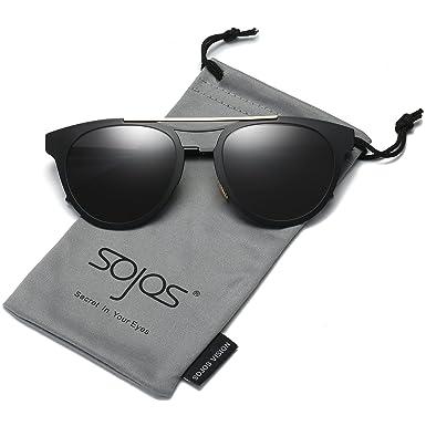 SojoS Klassische Doppelte Metallbrücken Runde Sonnenbrille für Herren Damen SJ2024 mit Schwarz Rahmen/Grau Linse nanjqGVv