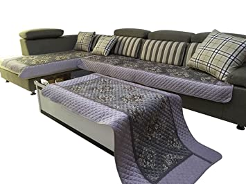 Terrific Octorose Ofit Chenille Quilted Sectional Sofa Throw Pads Furniture Protector Sold By Piece Rather Than Set Grey 35X70 Machost Co Dining Chair Design Ideas Machostcouk
