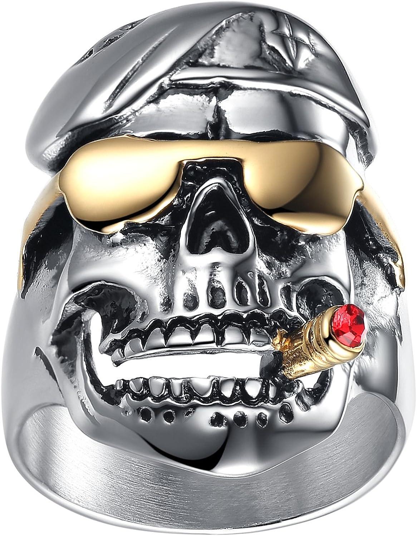 LineAve Men's Stainless Steel Skull Pilot Soldier Ring