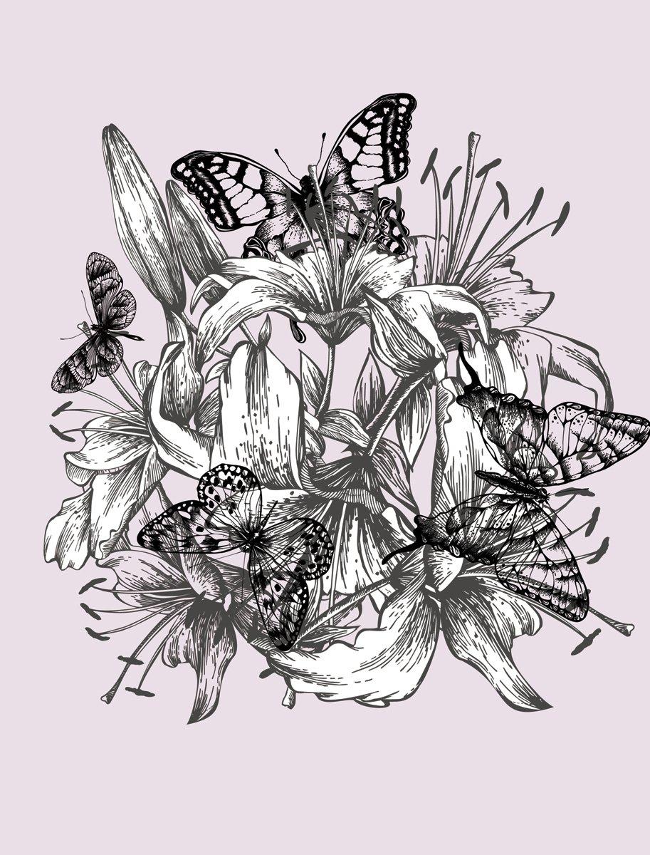 4 x 3-Feet Butterfly Dream Sketch Flower JP London PMUR2428 uStrip Peel and Stick Removable Wall Decal Sticker Mural