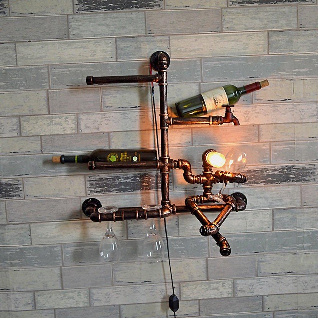 Modeen Vintage Industrial Rack Iron Water Pipes Wall Lamp Home Shelving Wine Rack Bar Restaurant Wall Decoration Kitchen Wall Light,Bronze