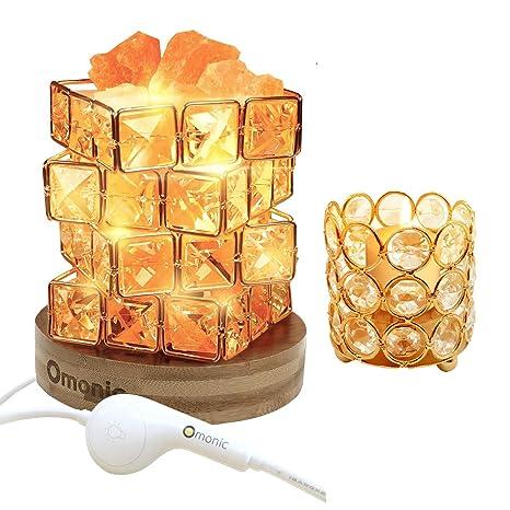 Natural Himalayan Salt Lamp And Crystal Beads Tea Light Candle Holder 2 Pack Set Pink Salt Glow Rock In Crystal Basket Table Lamp With Bamboo Wood