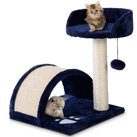 COSTWAY Árbol para Gatos Juguete Cama Escalador Cat Scratch 36x36x44cm Color Azul Oscuro