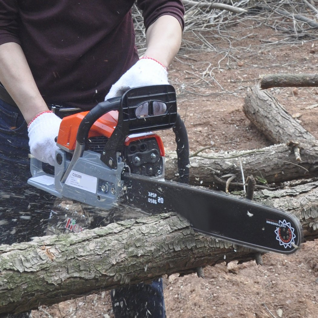 Hurbo 2 Stroke 52cc 20inch Saw Blade Petrol Chainsaw Outdoor Garden Yard Use with Tool Kit(Orange 2)