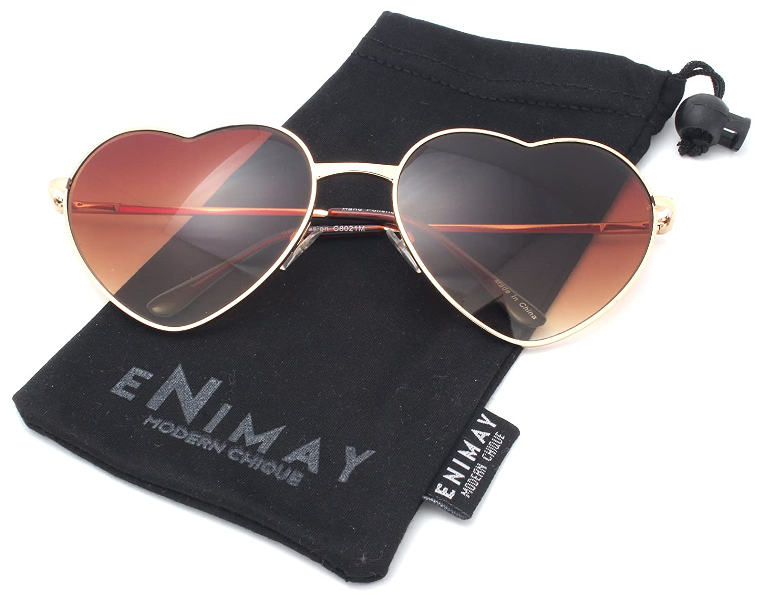 Enimay Women's Casual Metal Frame Heart Aviator Sunglasses Reflective Lenses Gold | Brown One Size