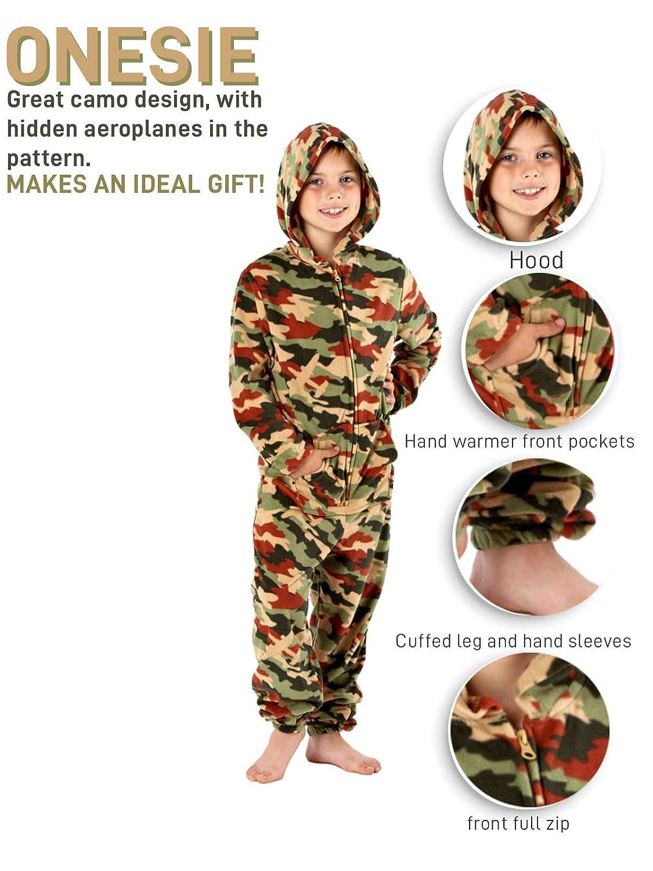 Jungen Tarnfarben Warm Fleece Onesie Pyjama Nachtw/äsche Hausanzug 1973