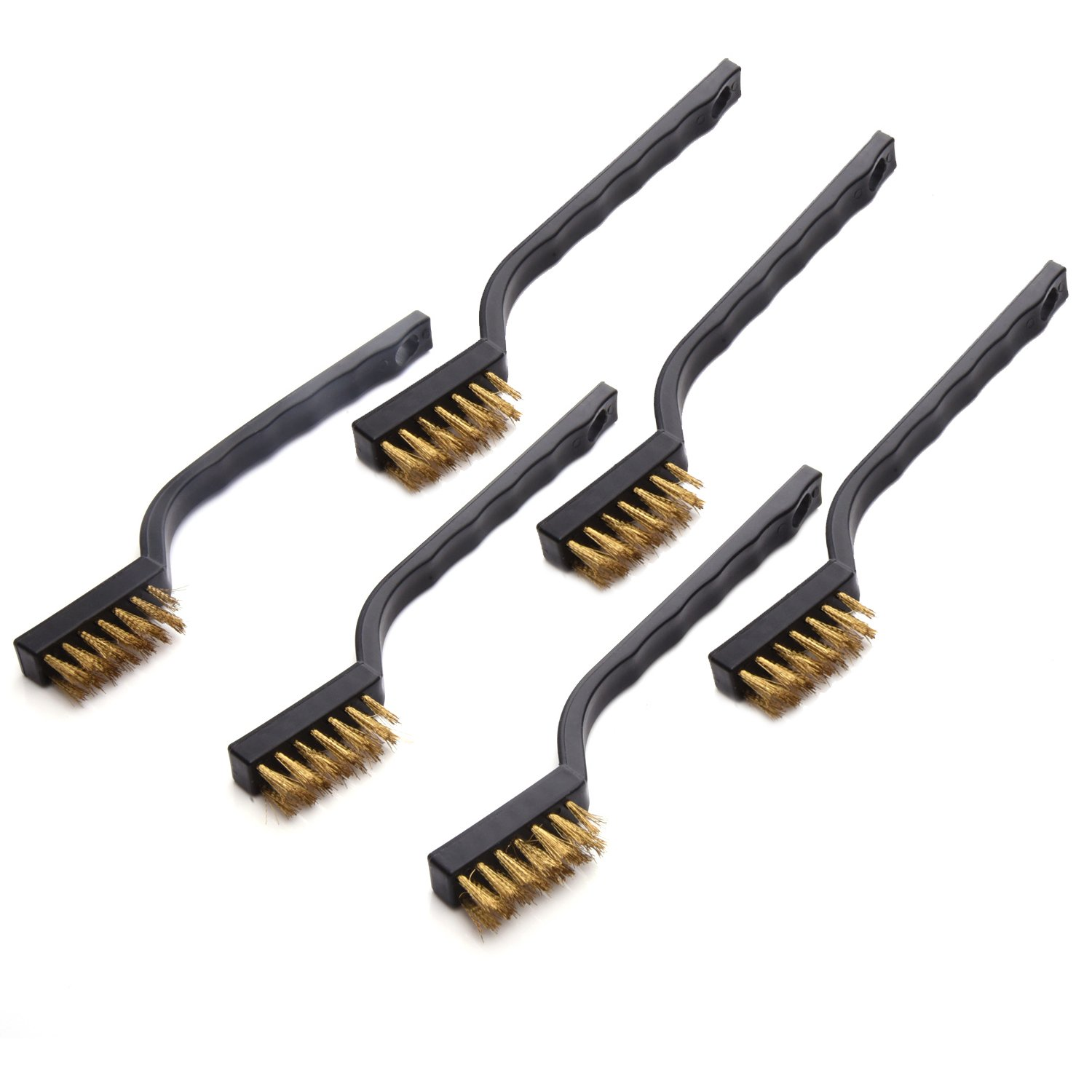 Mini Wire Brush Set for Cleaning Welding Slag and Rust, 6 Pack, Brass eBoot