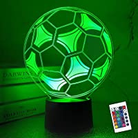 Football Night Light,CooPark 3D Lamp for Kids with Remote Control 16 Colors Change Dimmable Function, Soccer LED…