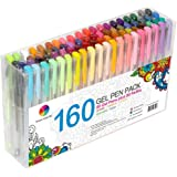 Smart Color Art 160 Colors Gel Pens Set 80 Gel Pen with 80 Refills for Adult Coloring Books Drawing Painting Writing Doodling