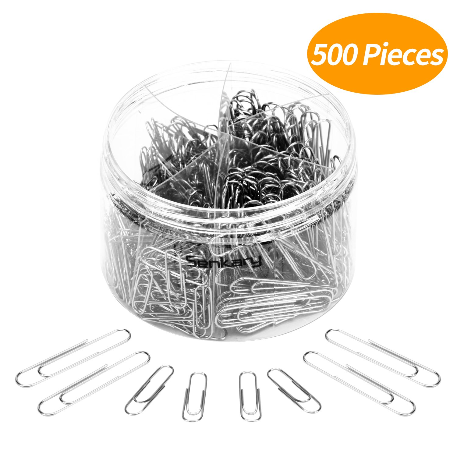 Senkary 500 Pieces Paper Clips Medium and Jumbo Size for Office Supplies, Crafts, Planners and School, Silver (28 mm, 50 mm)