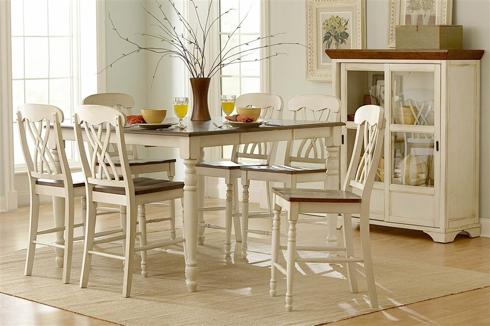 amazoncom ohana 7 piece counter height table set by home elegance in 2 tone antique white u0026 warm cherry table u0026 chair sets