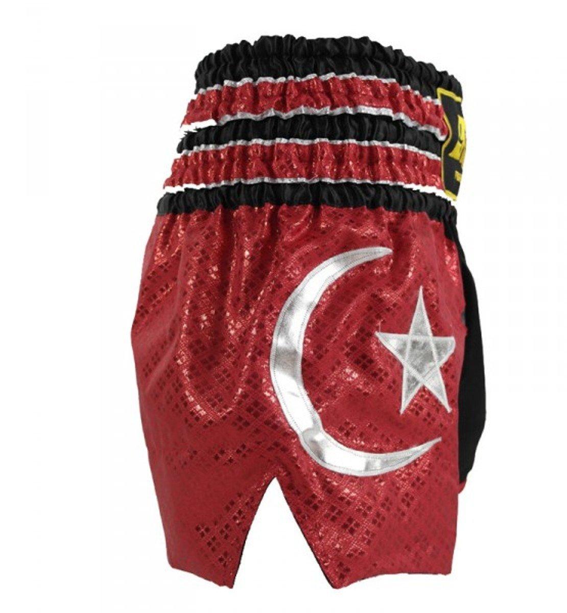4Fighter Muay Thai Shorts National T/ürkei in schwarz mit der roten Nationalflagge