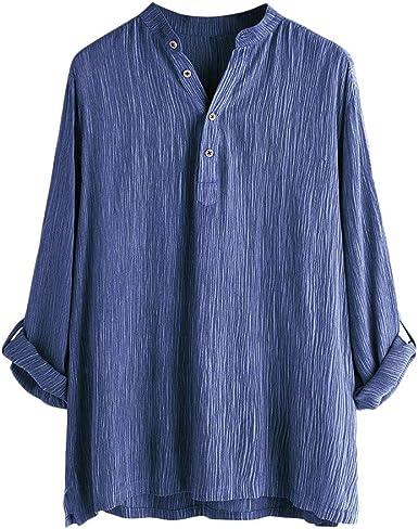 Gusspower Camiseta para Hombre, Camisa Verano Algodón y Lino Blusa Suelta Casual Transpirable Top Plisado de Manga Larga Plegable Botones Camisas Cuello-V de Color Sólido Tallas Grandes Blusas: Amazon.es: Ropa y accesorios