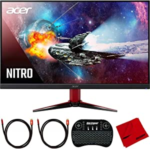 Acer UM.HV1AA.P02 VG271 Pbmiipx Nitro 27 inch FHD IPS Monitor with Freesync Bundle with 2.4GHz Wireless Keyboard, 2X 6FT Universal HDMI 2.0 Cable and Microfiber Cleaning Cloth