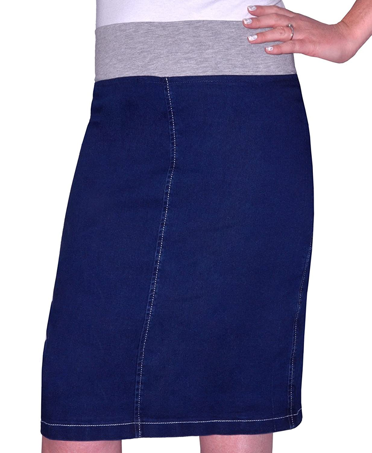 7ff8bf1135 Below the knee pencil jean skirt. Closed hem. Cotton denim with a touch of  poly & spandex for a perfect fit. Stretch waistband gives sizing  flexibility, ...