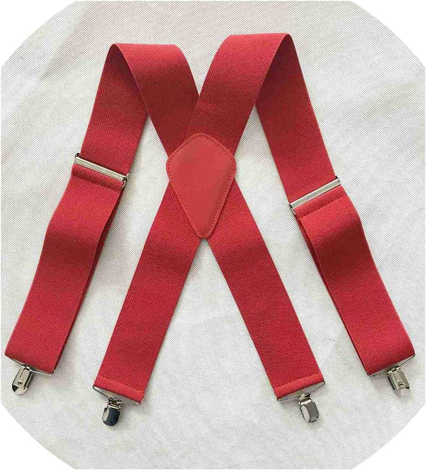 Back Elastic Duty Braces MenS Suspenders 2 Inch 50Mm Wide Adjustable Four Clip-On X