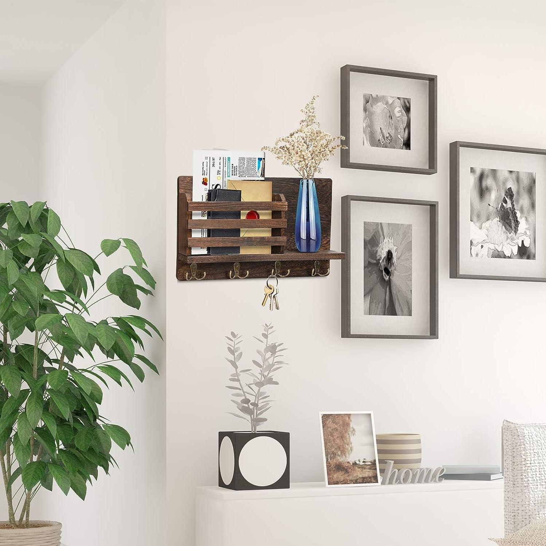 Dark Brown Letter Sorter Ornament Home Decorative Floating Shelf Wall Mount Entryway Key Holder Hooks,Wood Key Holder Organizer,Wall Mounted Mail Holder,Mail Envelope Organizer Newspaper Storage