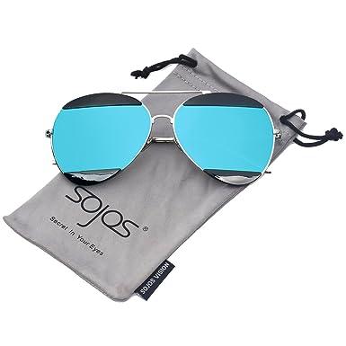 3ec99a59ba SOJOS Aviator Sunglasses for Men and Women Metal Frame Flash Mirrored  SJ1032 with Silver Frame