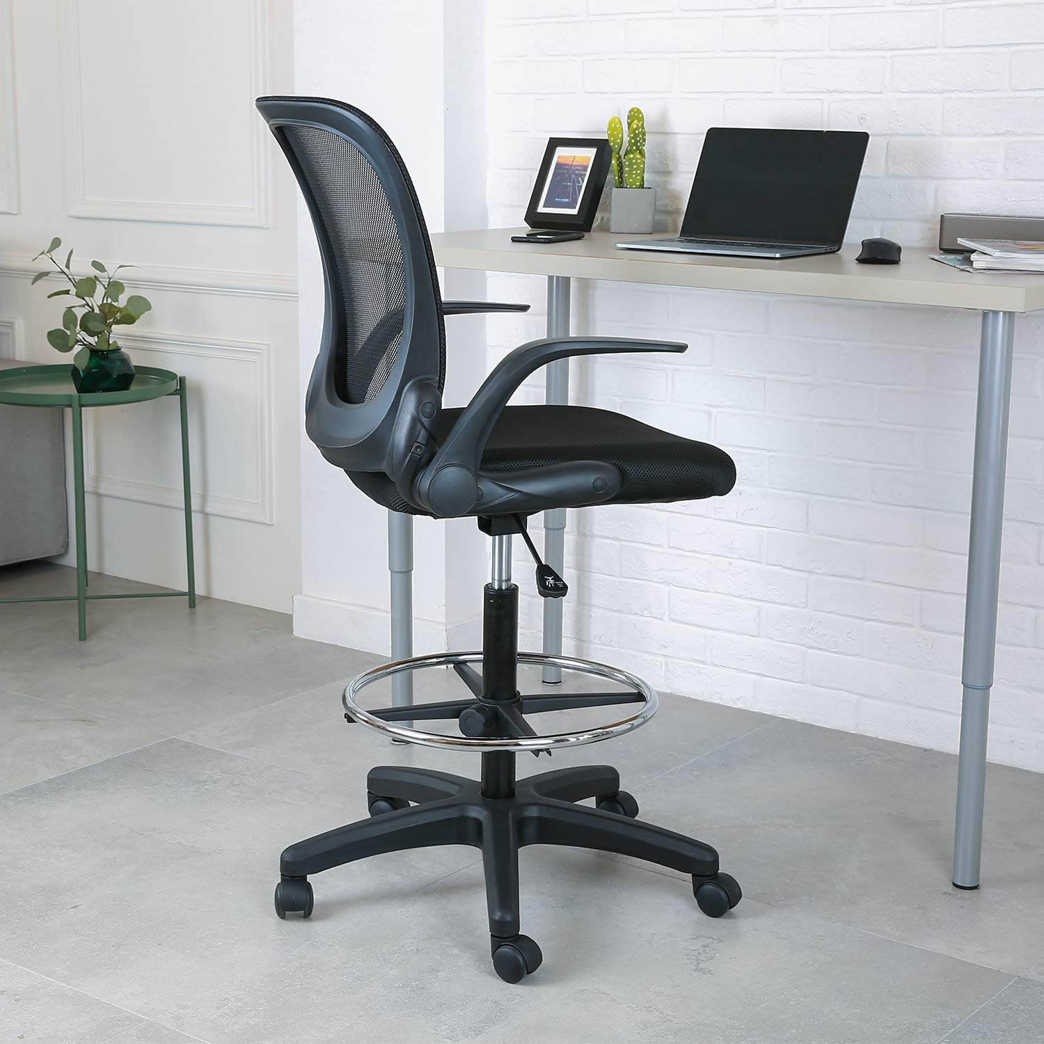 YOUNIS Drafting Chair with Black Fabric Seat, Adjustable Armrest and Foot Ring, Black Breathable mesh backrest, Reception Desk Chair, Tall Office Chair by YOUNIS (Image #1)