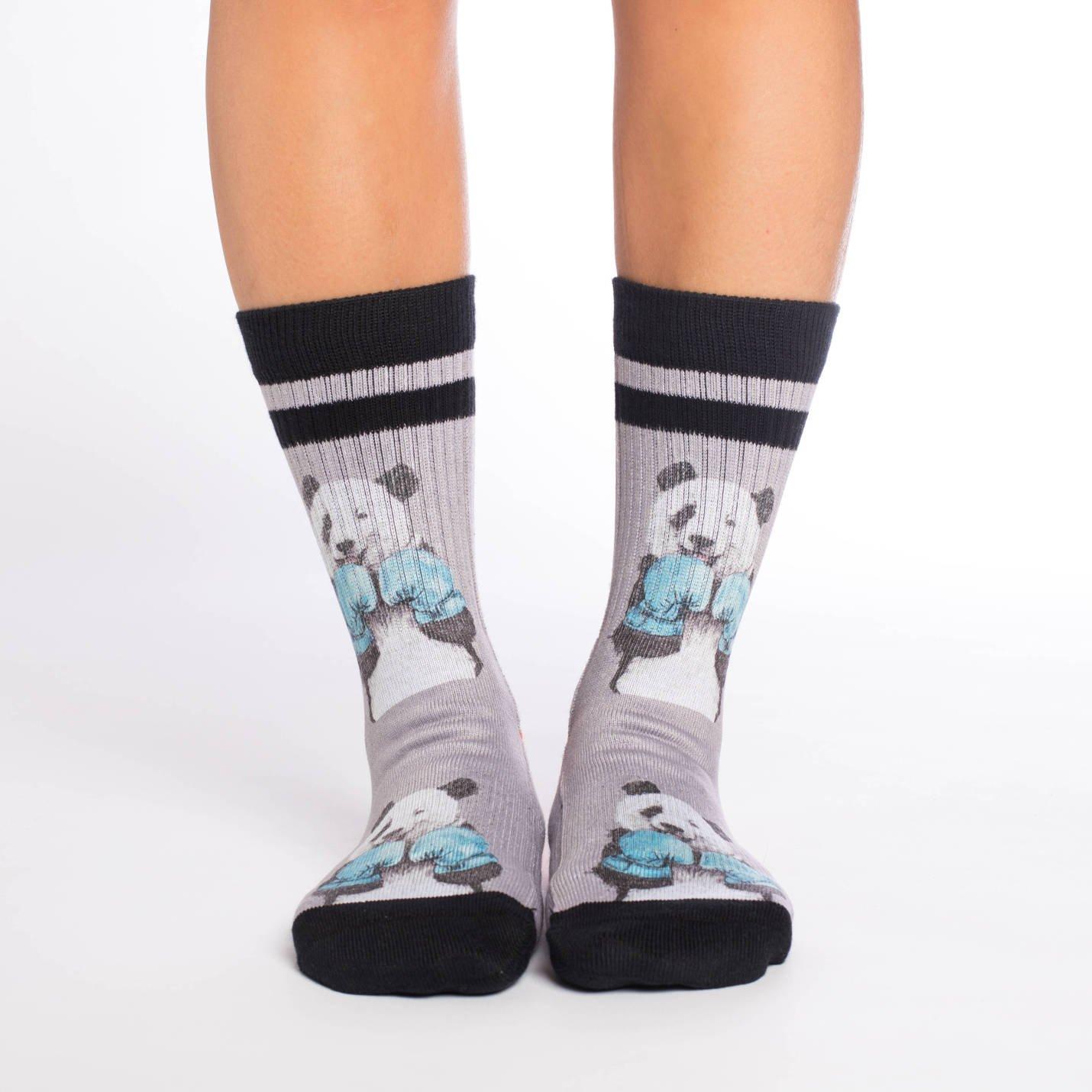Good Luck Sock Womens Boxing Panda Crew Socks Adult Shoe Size 5-9 Grey