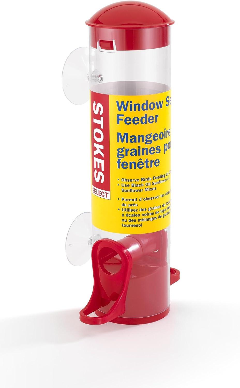 Stokes Select Window Bird Feeder, Small Tube Bird Feeder, Red, .7 lb Seed Capacity